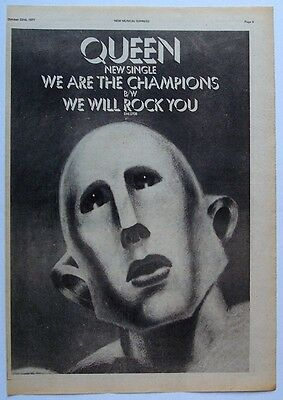 QUEEN 1977 Poster Ad WE ARE THE CHAMPIONS