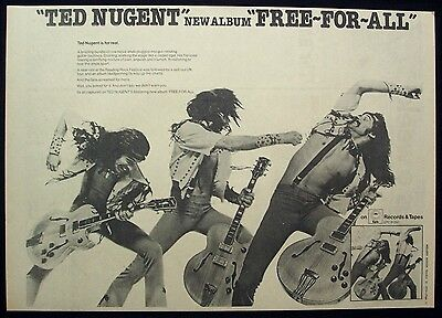 TED NUGENT 1976 Poster Ad FREE-FOR-ALL