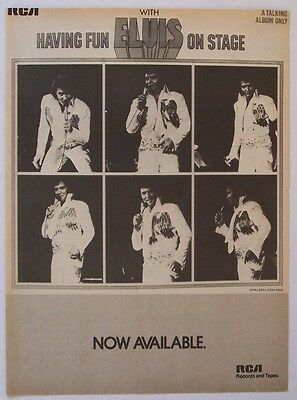ELVIS PRESLEY 1974 Poster Ad HAVING FUN WITH ELVIS ON STAGE