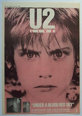 U2 1984 Poster Ad LIVE UNDER A BLOOD RED SKY