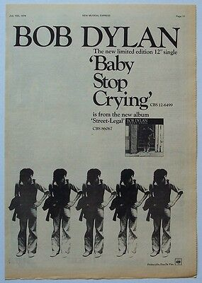 BOB DYLAN 1978 Poster Ad BABY STOP CRYING