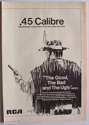 HUGO MONTENEGRO 1968 Poster Ad THE GOOD THE BAD AND THE UGLY sergio leone