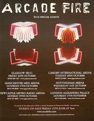 ARCADE FIRE 2007 Poster Ad UK CONCERT TOUR neon bible
