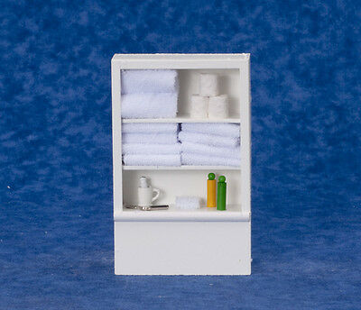 Bathroom Closet / Shelving With Fixed White Towels, Doll House Miniatures