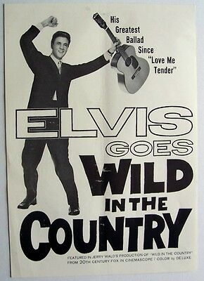 ELVIS PRESLEY 1961 Poster Ad WILD IN THE COUNTRY