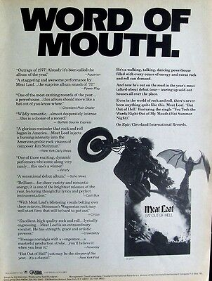 MEAT LOAF 1977 Poster Ad BAT OUT OF HELL word of mouth