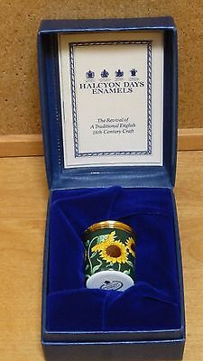 Halcyon Days Enamel Sunflower Pill Box in Presentation Box