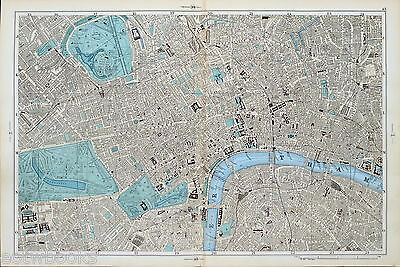 LONDON - WESTMINSTER, WEST END, SOUTHWARK, - ANTIQUE  STREET MAP - Bacon , 1895