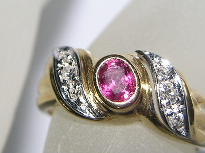 Vintage Ruby Diamonds 18k Yellow Gold  Ring