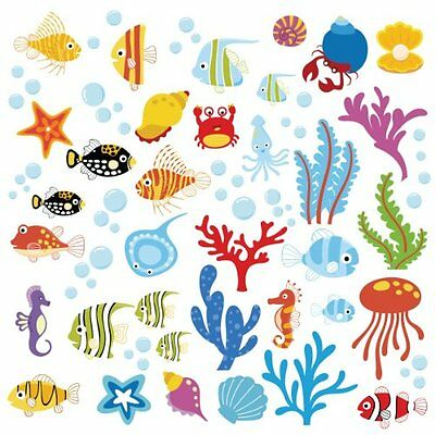 Ocean Wonders Decorative Peel & Stick Wall Art Sticker Decals, New