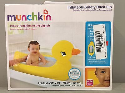 Munchkin Inflatable Duck Safety Baby Infant Bath Water Tub Toy Blow Up Padded