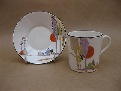 Tams Ware Art Deco Coffee Can & Saucer ~ Hand Painted 'Woodland' Pattern ~c.1932