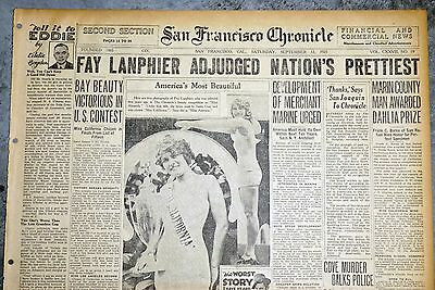 1925 San Francisco Newspaper Page - Fay Lanphier Wins Miss America Contest