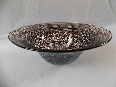 MALCOLM SUTCLIFFE blown footed GLASS BOWL iridescent swirls signed studio 1979