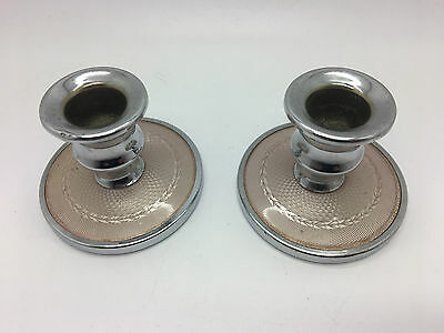 Pair 20s English Silver coloured Enamel GUILLOCHE under celluloid Candle sticks