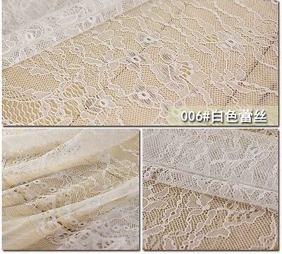 150cm Wide White Lace Fabric Sewing Craft by the Meter