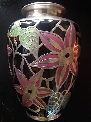 Rare Sparhr German Sterling Silver Overlay Art Deco Pottery Vase Circa 1950's