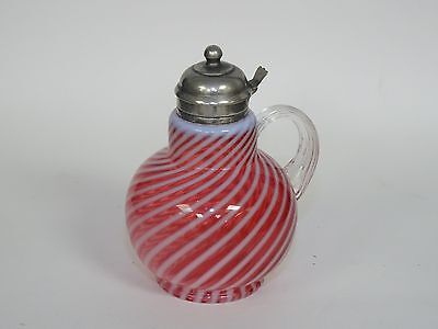 """ANTIQUE LATE 19c. OPALESCENT CRANBERRY WHITE SWIRL GLASS SYRUP PITCHER ~ 7"""""""