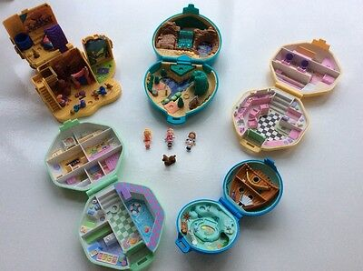Vintage Polly Pocket Bundle, 5 Compacts and 4 Figures