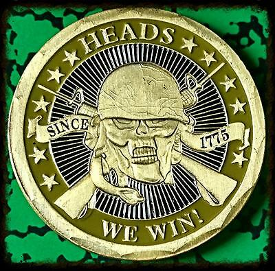 Heads We Win, Tails You Lose Military Colorized Gold/ Brass Art Round