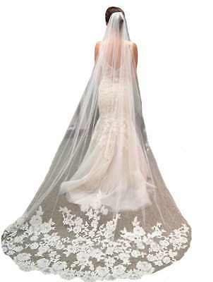 Bridal Veil White Lace Tulle Edge with Comb Cathedral Length Wedding Dress New