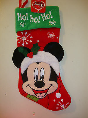 Disney Mickey Mouse  Christmas Stocking Nwts Appliqued / Embroidered