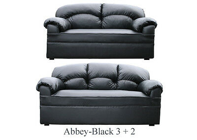 New Black Leather Sofa 3 + 2  Sofas Couch Suite Settee