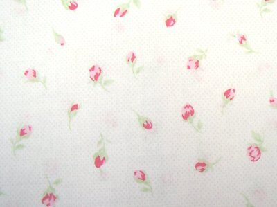 Cottage Shabby Chic Lecien Antique Flower Off-White w/Tiny Dots & Rosebuds BTY