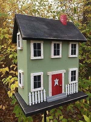 Primitive  Red Hand Crafted  Folk Art Rustic Birdhouse  White Star