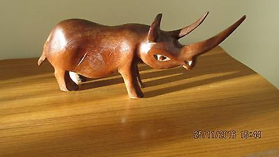 Wooden Rhino Figure