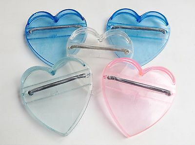 Lot of 5 Vintage Knickerbocker Heart Shaped Doll Stands Pink Blue Clear