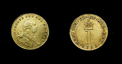 Great Britain , Penny 1792 - Silver Maundy (Gilded) XF - George III