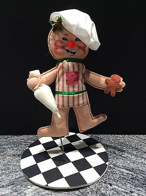 """ANNALEE '98 Swivel 12"""" Tall Gingerbread Man Boy Cookie Cook with Chef Hat"""
