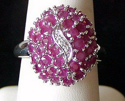 Amazing Estate Vintage Multi Natural Diamond + Ruby Sterling Cluster Ring Size 9