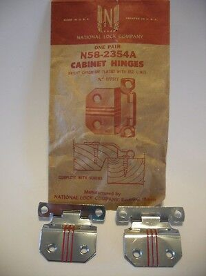 "Vintage NOS CHROME Cabinet Door Hinges RED Lines 3/8"" Offset National Lock"