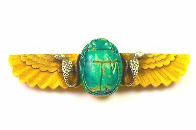 Antique 15Ct Gold & Silver Egyptian Revival Scarab Beetle Snake Brooch C.1870