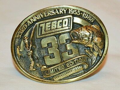 GREAT VINTAGE 1988 ZEBCO 33rd ANNIVERSARY FISHING BELT BUCKLE USA