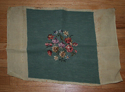 Vintage Needlepoint Floral Chair Cover Shabby Chic Seafoam Light Green