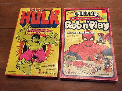 Vintage 1978 Colorforms Incredible Hulk & Spider-Man Rub N' Play Sets Complete