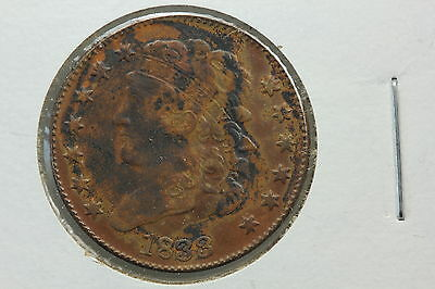 1833 Half Cent XF Toned