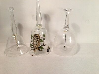 Lot Of 3 Glass Bells 2 Clear 1 Owl on Branch Bell