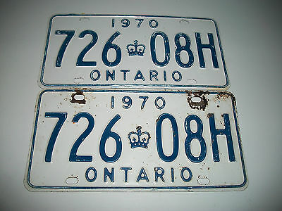 Pair Of Original 1970 Ontario Canada License Plates  # 72608H Cmystor4More