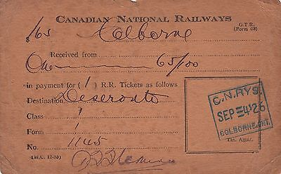 Vintage 1926 Canadian National Railways Colborne Ontario Class 1 Ticket