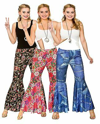 5708a4e9fc14 Womens Hippy Hippie Flares Pants 1960s 60s Fancy Dress Costume Trousers  Flared