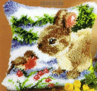 Vervaco Embroidery pillow Hase in the snow Winter Latch hook kit Knot -36