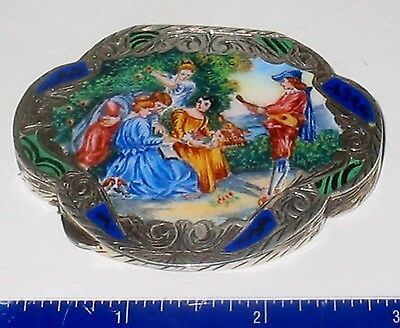 LP17 (B65) Exquisite Antique ITALIAN Enamel Engraved Sterling Silver Compact