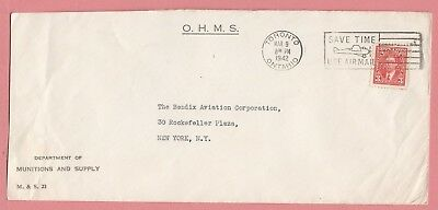 Canada Perfin On 1942 Cover Ohms Munitions Dept Toronto Slogan Cancel To Usa