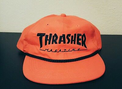 Thrasher Magazine SKATE MAG ROPE Snapback Skateboard Hat ORANGE/BLACK