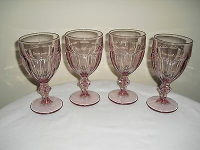 4 LIBBEY Pink Duratuff Gibraltar Wine / Water Goblets - Glasses