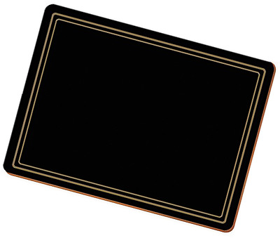 Creative Tops Classic Premium Cork-Backed Table Placemats, Wood, Black, 6-Piece